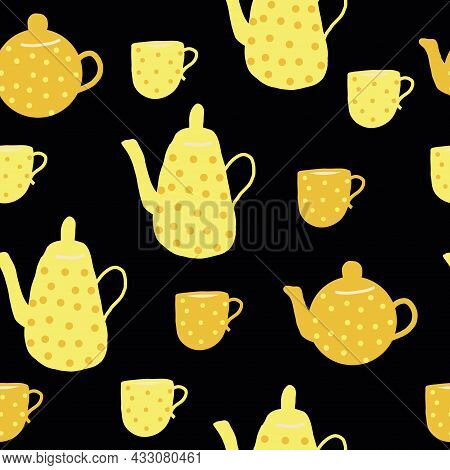 Teapot And Cups Seamless Pattern. Hand Drawn Doodle. Vector, Cartoon, Minimalism. Trending Colors 20