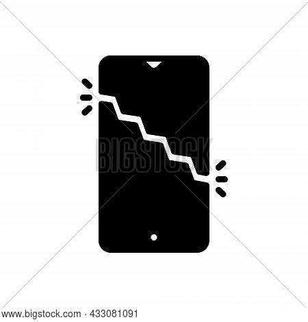 Black Solid Icon For Break Smartphone Screen-break Crash Damage Shatter Split Burst Crack Destroyed
