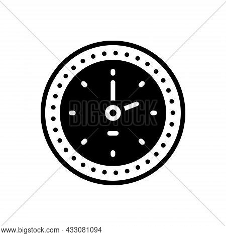 Black Solid Icon For Clock Watch Timer Timepiece Horologe Alarm Time Analog Countdown