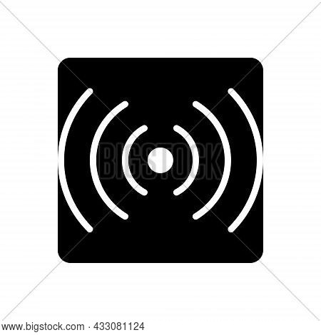 Black Solid Icon For Stream Router Broadcast Communication Sound Volume Multimedia Broadcasting Inte