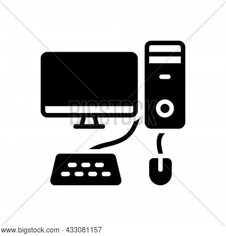 Black Solid Icon For Computer Monitor Necessarily Pc Mouse Keyboard Basis Device Technology Accordin