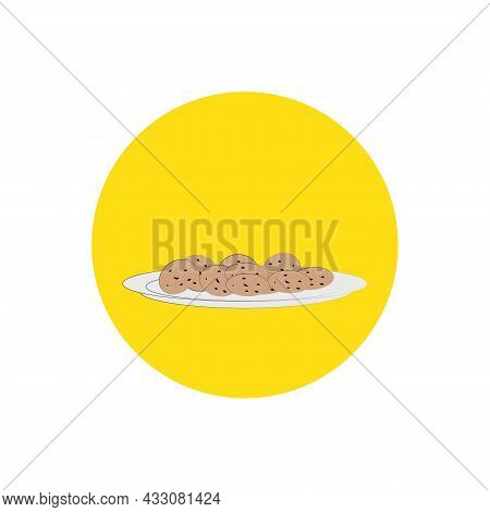 A Set Of Freshly Baked Cookies With Crumbs , Colored Cookies Illustrations.