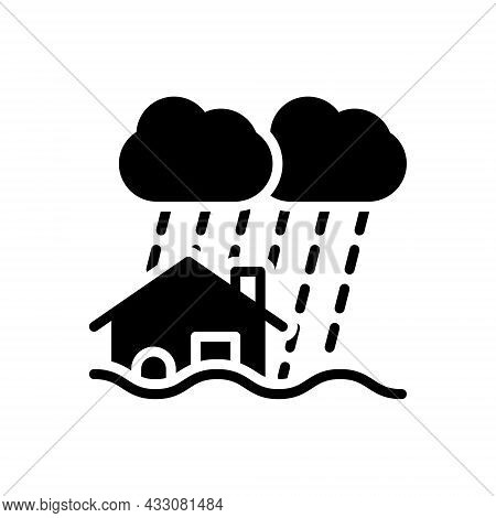 Black Solid Icon For Disaster Calamity Adversity Catastrophe Flood Hurricane Earthquake Water-damage