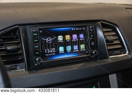 Novosibirsk, Russia - July  21, 2021:  Uaz Patriot,audio Stereo System, Control Panel