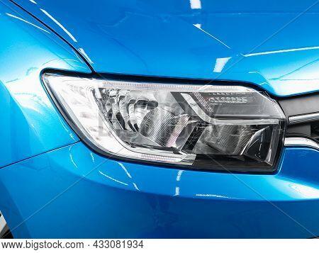 Novosibirsk, Russia - July  01, 2021:  Renault Logan, Detail Light Close Up Of On New Car. Exterior
