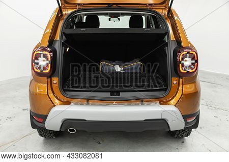 Novosibirsk, Russia - July  08, 2021:  Renault Duster,big Trunk Open In A Suv Car.