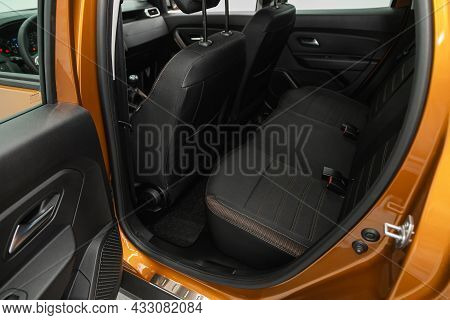 Novosibirsk, Russia - July  08, 2021:  Renault Duster,rear Seat For Passengers In Black Textile. Com