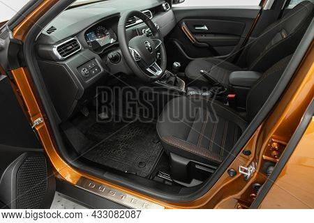 Novosibirsk, Russia - July  08, 2021:  Renault Duster, Steering Wheel, Shift Lever And Dashboard, Cl