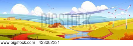 Rustic Landscape, Meadow, Rural Field With Bridge Over River, Hay Stacks And Farm Buildings. Paralla