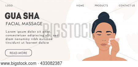 Web Banner Template For Gua Sha Facial Massage. Woman Massaging And Scraping Her Skin. Natural Pink