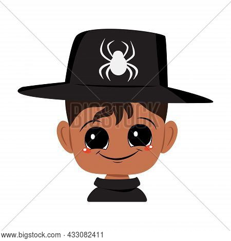 Avatar Of An African American Or Latin Boy With Dark Skin, Big Eyes And A Wide Happy Smile Wearing A