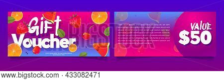 Gift Voucher, Shopping Certificate Two-sided Vector Mockup With Summer Fruits, Berries And Value Pri