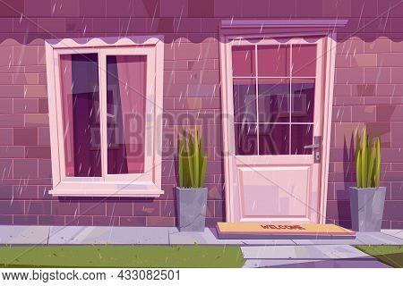 House Facade With Closed Door, Window And Brick Wall In Rain. Vector Cartoon Building Exterior, Home