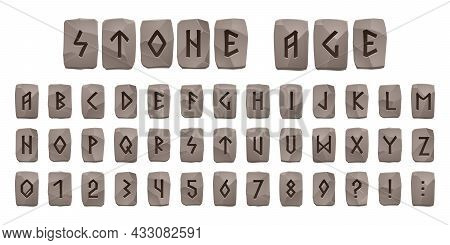 Viking Runes Stone Age Alphabet, Celtic Font With Ancient Runic Signs On Grey Rock Pieces. Abc Nordi