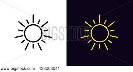 Outline Sun Icon, With Editable Stroke. Linear Sun Sign, Solar Energy Pictogram. Sunshine, Sun Ultra
