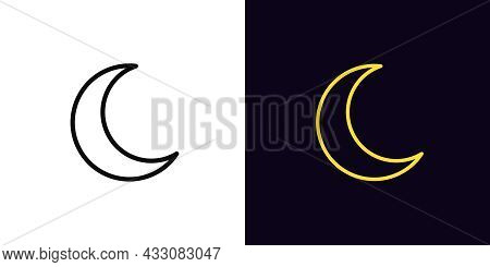 Outline Crescent Icon, With Editable Stroke. Linear Crescent Sign, Moon Silhouette And Pictogram. Lu