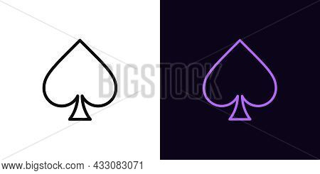 Outline Spade Suit Icon, With Editable Stroke. Linear Spades Sign, Card Suit Silhouette. Poker Playr