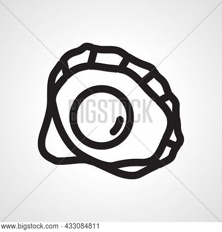 Pearl In A Shell Vector Line Icon. Pearl In A Shell Linear Outline Icon.