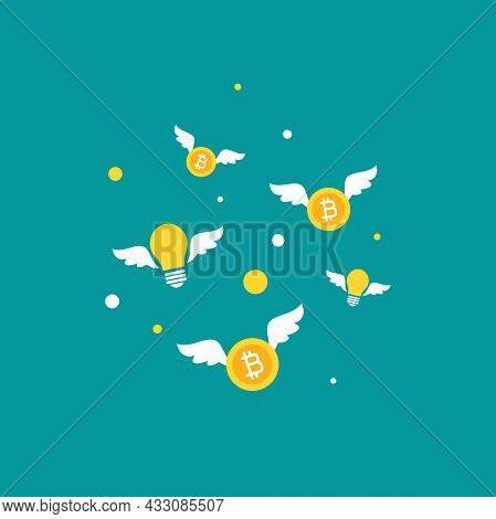 Golden Bitcoins And Bulbs With Wings. Flat Icon Isolated On Blue Background. Economy, Finance, Digit