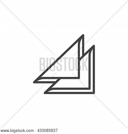 Folded Napkin Line Icon. Linear Style Sign For Mobile Concept And Web Design. Triangle Paper Napkin