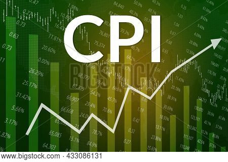 Financial Term Cpi (consumer Price Index) On Green Finance Background. Trend Up And Down, Flat. 3d I