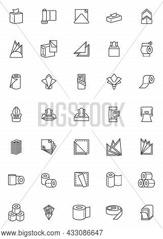 Paper Napkin And Towel Line Icons Set. Linear Style Symbols Collection, Outline Signs Pack. Towels A