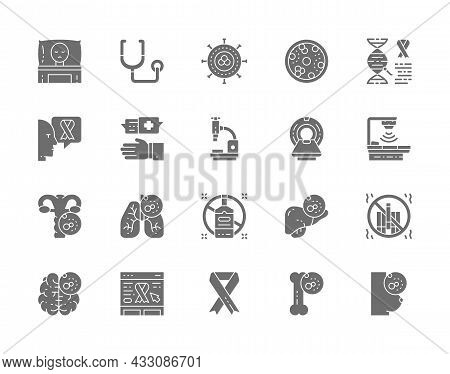 Set Of Cancer And Chemotherapy Grey Icons. Oncology, Sarcoma, Leukemia And More.