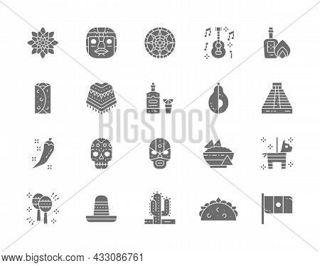 Set Of Mexican Culture Grey Icons. Tequila, Burrito, Poncho, Agave And More.