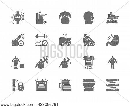 Set Of Obesity And Overweight Grey Icons. Fat Face, Junk Food, Diet And More.