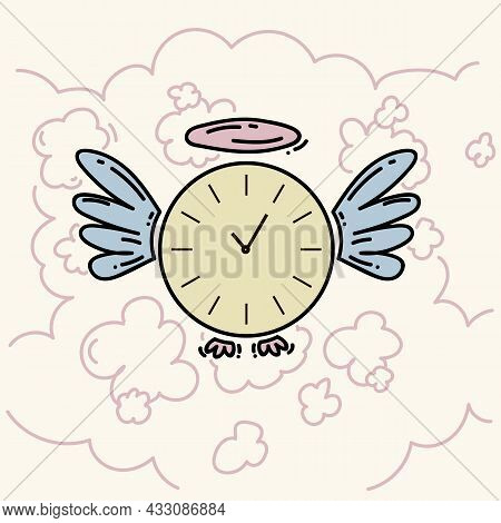 Linear Illustration Of Time And Clock. Beautiful Doodle Picture Of A Clock With Wings In The Clouds.