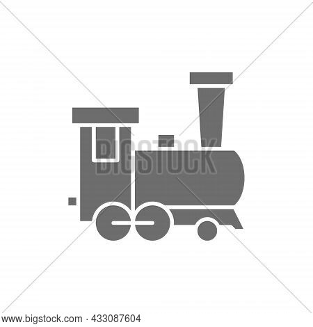 Old Locomotive, Train, Railroad Grey Icon. Isolated On White Background