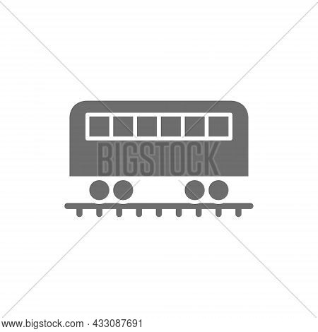 Coach On Rails, Train Wagon, Subway Grey Icon.