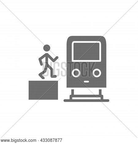 Man In Metro, Waggon On Platform, Train, Subway Station Grey Icon.
