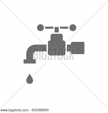Tap Water, Faucet Grey Icon. Isolated On White Background