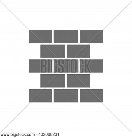 Bricks, Wall, Brickwork Grey Icon. Isolated On White Background