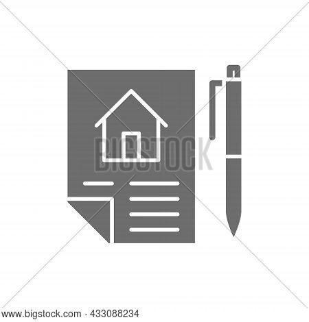 Home Purchase Contract, Sale Of Real Estate, Lease Grey Icon.