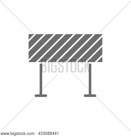 Road Barrier, Roadblock, Borderline Grey Icon. Isolated On White Background