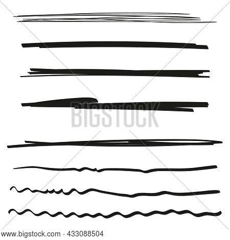 Vector Set Of Hand Drawn Underline. Black Scribble Brush Strokes Collection. Felt Tip Brush Smears S