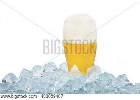 Close Up One Full Glass Of Cold Lager Beer On Ice Cubes Isolated On White Background, Low Angle, Sid