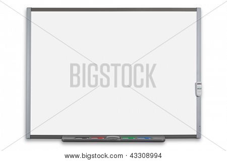 School interactive whiteboard or IWB with remote control, isolated on a white background. Clipping path provided for both the board and screen.