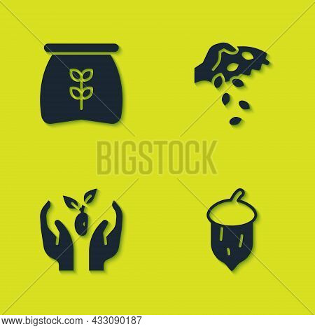 Set Bag Of Flour, Acorn, Oak Nut, Seed, Plant In Hand And Seed Icon. Vector