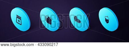 Set Isometric Acorn, Oak Nut, Seed, Seed, Measuring Cup And Bag Of Coffee Beans Icon. Vector