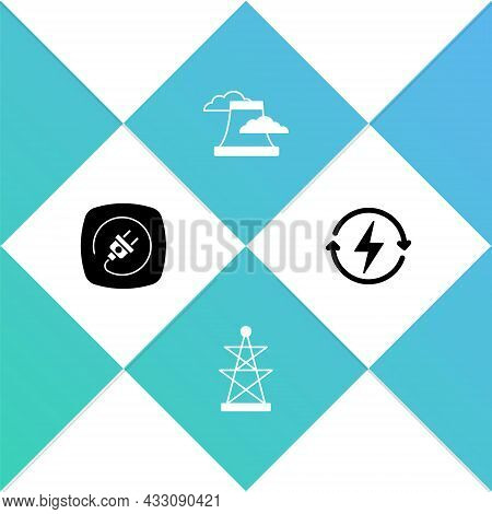 Set Electric Plug, Tower, Nuclear Power Plant And Recharging Icon. Vector
