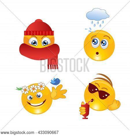 Icon Bandit, Pirate, Bank Robber. A Set Of Criminal Emoticons