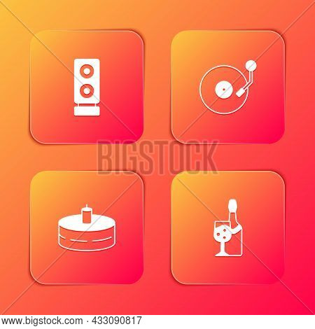Set Stereo Speaker, Vinyl Player With Disk, Cake Burning Candles And Champagne Bottle Icon. Vector