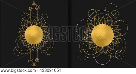 Abstract Patterns Set With Gold Sun, Moon, Star And Geometric Elements