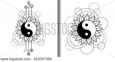 Abstract Patterns Set With Yin And Yang Sun, Moon, Star And Geometric Elements