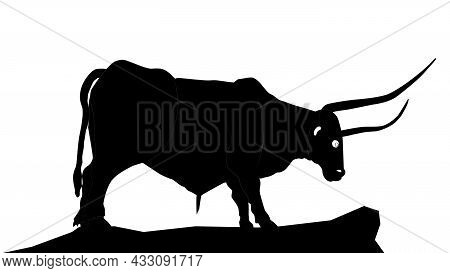 Silhouette Of Bull With Long Horns Standing On Rock Isolated On White. Vector Illustration.