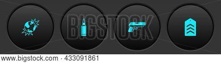 Set Bomb Explosive Planet Earth, Bullet, Pistol Or Gun And Chevron Icon. Vector
