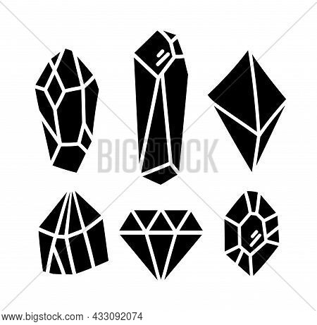 Crystals Or Gemstones Silhouette Cliparts Bundle, Gem Collection, Jewelry Stone Or Diamond Set, Blac